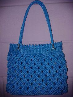 Macrame Purse, Macrame Knots, Macrame Chairs, Fabric Handbags, Crochet Tote, Handmade Handbags, Macrame Projects, Knitted Bags, Blue Bags