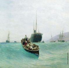 Лагорио Л. Ф. Выгрузка пассажирского судна. Лодка в море