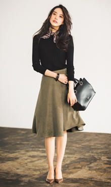 Black top, khaki flare skirt, scarf, classy style