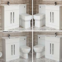 White Vanity Unit Cabinet Basin Sink Toilet Bathroom Combined Furniture Suite · $313.99 Toilet Vanity Unit, White Vanity Unit, Freestanding Vanity Unit, Vanity Units, Basin Sink, The Unit, Cabinet, Bathroom, Mini