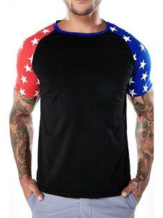 65a7fb01a7 Casual Two-tone Star Print Sleeves T-shirt - BLACK L Cheap T Shirts