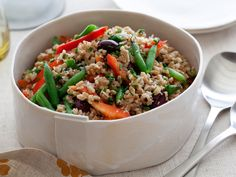 Mediterranean Farro Salad from FoodNetwork.com    I use cotija cheese, and added grape tomatoes, cucumbers and a lot more green beans. Was a popular healthy dish.