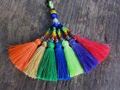 Silk Tassel Rainbow Keychain Neon Keychain Tassel by midgetgems