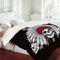 DENY Designs Home Accessories | Chobopop Geometric Indian Skull Duvet Cover