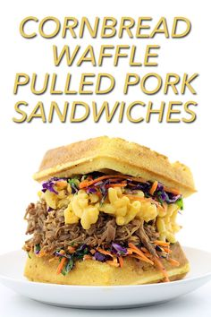 A recipe for a sandwich that consists of cornbread waffle buns packed with pulled pork, macaroni and cheese and red cabbage coleslaw. Bratwurst Recipes, Pork Recipes, Gourmet Recipes, Cooking Recipes, Gourmet Foods, Yummy Recipes, Cooking Tips, Waffle Sandwich, Pork Sandwich