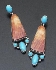 Geneva Apachito - Orange Shell & Turquoise Sterling Silver Dangle Earrings-Navajo
