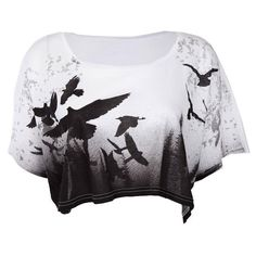 Womens Crafted Bird Cropped T-Shirt ❤ liked on Polyvore