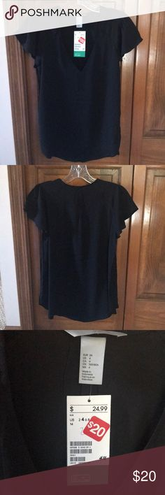 NWT H&M Black Blouse NWT, Black v-neck blouse from H&M. This was an impulse buy and I never wore it. My loss is your gain! Open to offers however, since I never wore I'm hoping to stick close to asking offer! H&M Tops