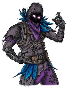 Raven - Fortnite Skin by SimonPdv - Live Wallpapers Dark Fantasy Art, Gaming Wallpapers, Iphone Wallpapers, Goku Y Vegeta, Skin Drawing, Drawing Art, Raven Art, Epic Games Fortnite, Video Game Art