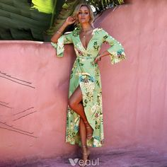 1677eca796 Cyganeria Szałwia Zielony Lato Długie sukienki 2018 Druk Podział Przodu V- Szyja 3 4 Rękawy Długość Kostki Odzież na wakacje Odzież damska