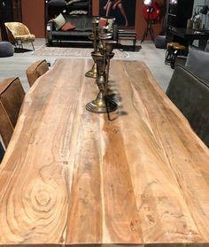 Boomstamtafel Cliff met metalen poot - Meubilex Hardwood Floors, Flooring, Entryway Tables, Dining Table, Rustic, Furniture, Home Decor, Wood Floor Tiles, Country Primitive