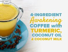 4-Ingredient Awakening Coffee with Turmeric, Coconut Oil and Coconut Milk Whole 30 Coffee, Healthy Baked Snacks, Healthy Drinks, Healthy Baking, Healthy Foods, Title Card, Coffee Recipes, Drink Recipes, Keto Recipes