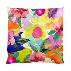 Multicoloured Watercolour Flowers and Art Cushion Cover
