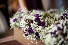 Winter bridesmaid bouquets - baby's breath, plum mini carnations, but absolutely no pinecones, they're the worst Plum Wedding Flowers, Purple Wedding, Floral Wedding, Wedding Bouquets, Dream Wedding, Bridesmaid Bouquets, Wedding 2017, Wedding Colors, Wedding Decorations