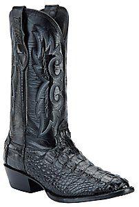 Larry Mahan® Men's Black R-Toe Hornback Gator Exotic Western Boots