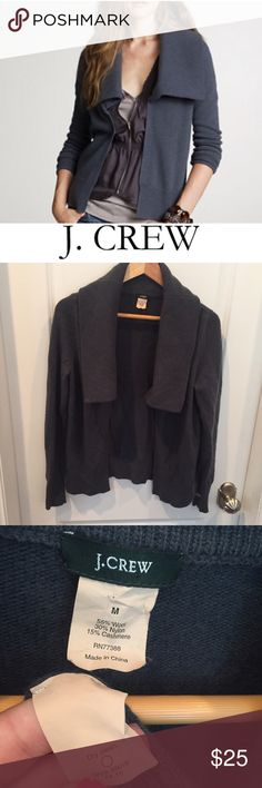 J. Crew Dark Gray Dream Shawl Cardigan J. Crew Dark Gray Dream Shawl Open Cardigan. Bust is 18 in, length is 23 inches. Long sleeve. Gently worn. Some piling on the arms/torso where the arms hit from wearing, but easy to fix. You can see it's clear on the back. Otherwise great condition and a cozy Cardigan.  Feel free to make an offer or bundle & save! J. Crew Sweaters Cardigans