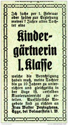 Original-Werbung/ Anzeige 1920 - STELLENANZEIGE KINDERGÄRTNERIN / PEYINGHAUS - EGGE BEI  VOLMARSTEIN - ca. 35 x 65 mm