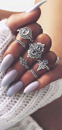 Lovely lavender and lilac nails.