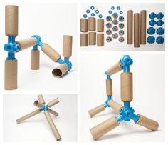Toobalink construction set, een systeem die als basis dient om te bouwen met lege wc- en keukenpapier rollen.