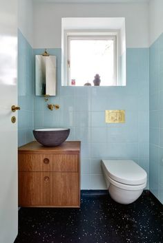 A designer favorite, this versatile light blue tile offers a cool color palette refresh. Blue Bathroom Interior, Modern Bathroom, Small Bathroom, Master Bathroom, Bathroom Pink, Ikea Bathroom, Bathroom Renos, Bathroom Toilets, Laundry In Bathroom