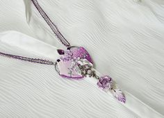 Flower pendant Purple and white necklace Flower necklace Handmade jewelry Gift for women Gift for girl Polymer clay purple silver peony pendant