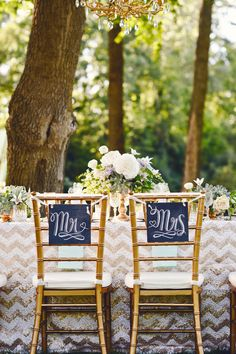 Mr. and Mrs. chalkboard seating signs