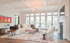 coffered ceiling in living room | Living Room Design Ideas, Pictures, Remodels and Decor