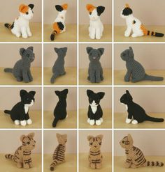 "AmiCats amigurumi cat crochet patterns by PlanetJune. ""Cats are one of my favourite animals, but one of the most difficult to depict realistically, and I didn't want to publish any cats until I was satisfied that I'd done justice to their feline grace and beauty"".:"