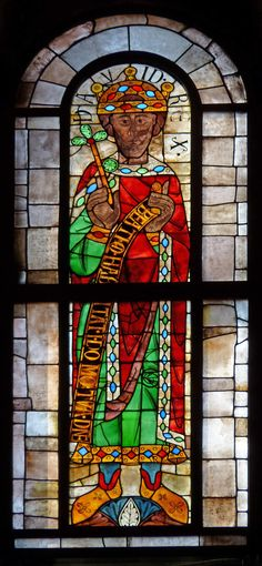 King David from Augsburg Cathedral, late 11th century. One of a series of prophets that are the oldest stained glass windows in situ.