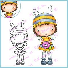 C.C. Designs Rubber Stamp - Swiss Pixies Bee Olivia