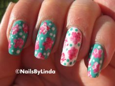 such cute floral nails! Get Nails, Fancy Nails, How To Do Nails, Hair And Nails, Fabulous Nails, Gorgeous Nails, Pretty Nails, Garra, Manicure