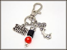 Cheer Coach Zipper Pull - Cheer Coach Gift - Cheerleader Zipper Pull - Jacket Zipper Pull - Bag Charm - Gym Bag Zipper Pull - Purse Cheer Charm - Cheer Key-chain  This is an adorable Silver plated dangle Cheer Coach Bag Charm, comes with 3 charms, Cheer Coach Charm, jumping cheerleader charm, (choose your school colors for the beads) on a swivel lobster clasp. Ready for gift giving. What a fun Cheer Coach Bag or Zipper pull charm great for any Cheer coach. Makes a great gift idea. Your…