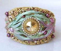 Bead & Satin Cuff Bracelet