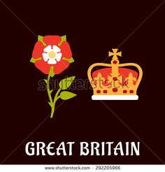 National Symbols of England | National heraldry symbols of Great Britain in flat style with Tudor ...