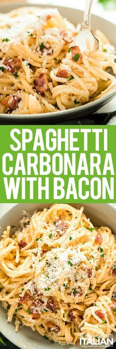 Spaghetti Carbonara is a super simple, creamy Italian #pasta recipe that takes 15 minutes and just 5 ingredients to throw together. Now THAT is an easy #dinner!