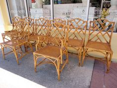 Rattan CHIPPENDALE Chairs, set of 8:)