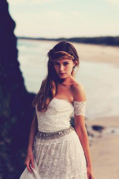Strapless Lace, Arm Bands Bohemian Wedding Dress Would still want to dye it but love this dress.