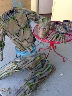 Coolest Ever 100% Homemade Groot Costume! Groot Costume For Kids, Groot Halloween Costume, Halloween Diy, Halloween Fonts, Halloween Decorations, Groot Costumes, Family Halloween Costumes, Halloween Cosplay, Cosplay Diy
