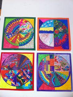 Groepswerk. Elk kind krijgt een kwart van een cirkel en maakt hier een mooi kunstwerk van met stift. De cirkels worden later weer aan elkaar vast gemaakt en opgeplakt op een vrolijke ondergrond.