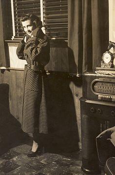 Vintage girl, coat and radio 1951  #TuscanyAgriturismoGiratola