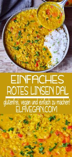 EINFACHES ROTES LINSEN DAL REZEPT A creamy red lentil dal which is creamy, hearty and delicious. The recipe is vegan, gluten-free, healthy and easy to prepare. The curry is ready in 30 minutes and is therefore perfect for a weekday dinner. Vegan Dinners, Healthy Dinner Recipes, Red Lentil Recipes Easy, Simple Red Lentil Recipe, Vegan Recipes Red Lentils, Vegetarian Meals, Lentil Dal Recipe, Vegetarian Recipes, Vegetarian Cooking