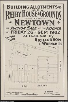 Building allotments &c. and Reiby House & grounds at Newtown [cartographic material] : for auction sale at the rooms on Friday Sept. Sydney Map, Real Estate Ads, Australian Vintage, Historic Architecture, Allotment, South Wales, Historical Photos, Vintage Posters, Auction