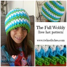 Wobbly V-Stitch Hat Version 1: The Full Wobbly   I am totally excited to share with you the first of two wobbly v-stitch hats: The Full ...