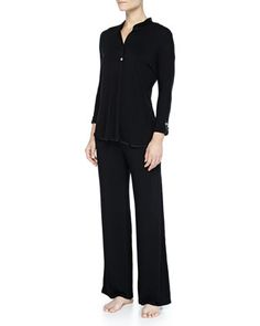 Fleur\'t+at+Night+Tailored+Silk+Collar+Adjustable+Cuff+Top+with+Silk+Side+Band+Pant+PJ+Set,+Black+at+CUSP.