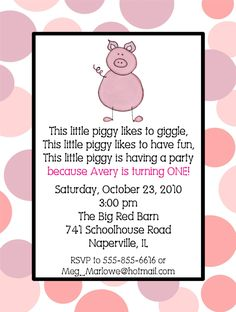 This little Piggy Birthday Party Invitations