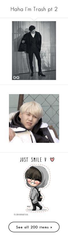 """Haha I'm Trash pt 2"" by hanabusa ❤ liked on Polyvore featuring bts, bangtan, taehyung, kpop, v, bts - taehyung, people, bigbang, k-pop and daesung"