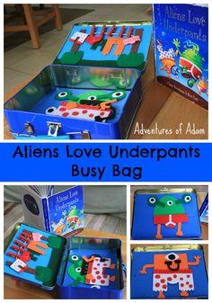 Adventures of Adam Aliens Love Underpants Busy Bag. Book & felt playboard in a suitcase. Toddler Preschool, Toddler Crafts, Toddler Activities, Preschool Learning, Kids Crafts, Literacy Bags, Literacy Activities, Space Activities, Kindergarten Literacy