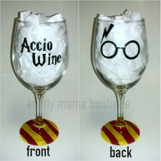 Accio Wine - Harry Potter Hand Painted Wine Glass by kraftymamaboutique on Etsy