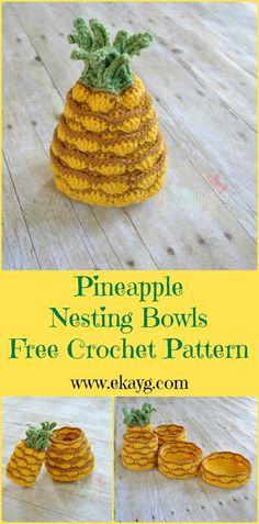 Pineapple Nesting Bowls-Free Crochet Pattern www.ekayg.com