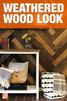 Add personality to your space with a rustic accent wall. This reclaimed barn wood look offers a rich texture and stylish herringbone design that makes a great addition to any room in your home. We partnered with Shara McCuiston to create this design. Click to explore Shara's weathered wood accent wall.